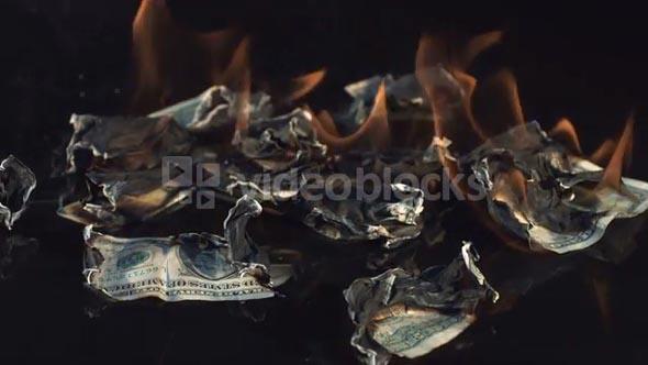 Slow Motion Burning Dollar Bills