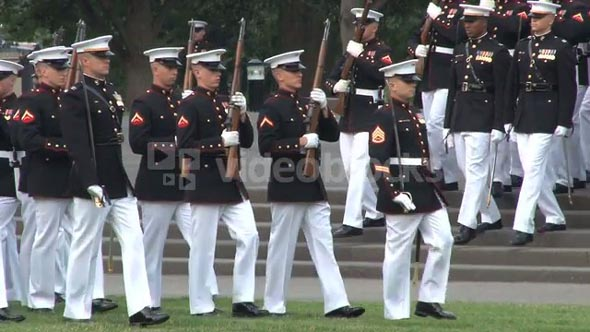 Military Unit Marching in Arlington National Cemetery