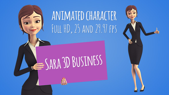 Sara 3D Character in Business Suit - Beautiful Woman Presenter/Manager