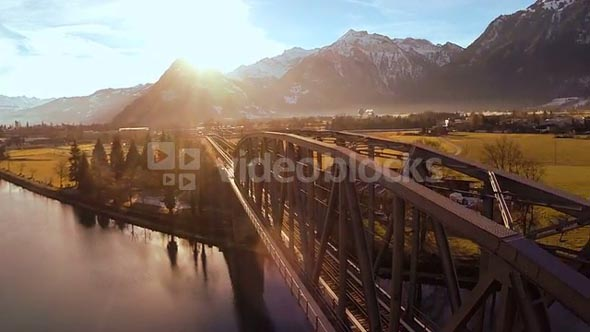 aerial view. flying over bridge. landscape panorama. sunset dusk