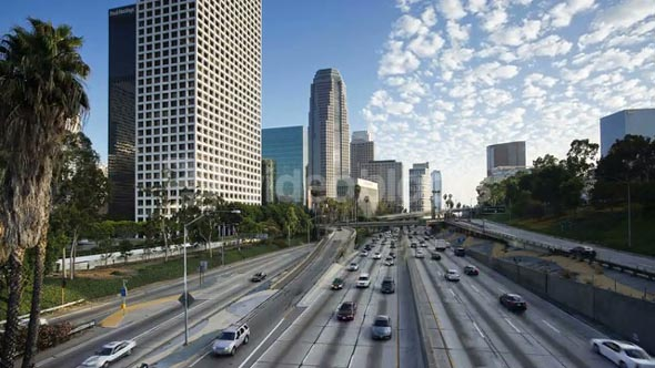 T/lapse, Freeway, Figueroa at Wiltshire, Downtown, Los Angeles, California, United States of America