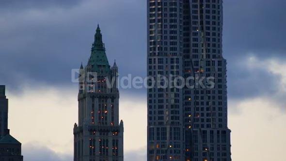 Pan of New York City Manhattan Skyline