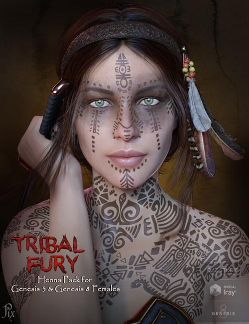 Tribal Fury Henna for Genesis 3 and 8 with Bonus Character