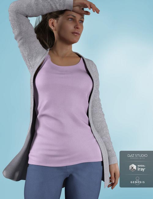 Cardigan Outfit for Genesis 8 Female(s)