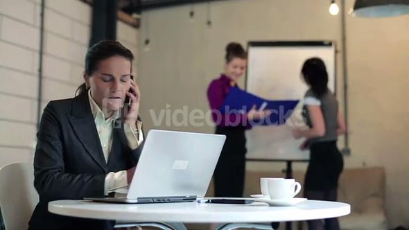 Young businesswoman talking on mobilephone in the boardroom