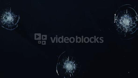 Slow Motion Sheet of Glass Points of Impact