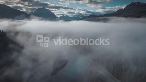 4K 60fps Aerial of Fog Over Athabasca River in Jasper