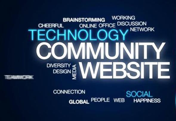 Community website animated word cloud, text design animation