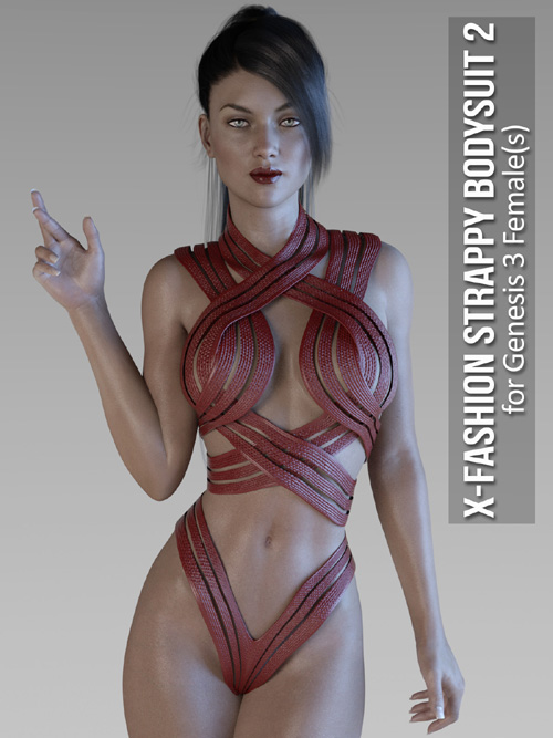 X-Fashion Strappy Bodysuit 2 for Genesis 3 Females