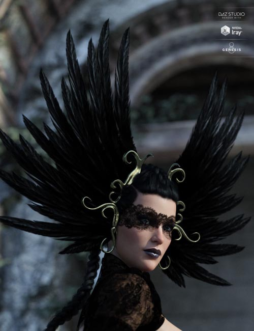 Raven Headwear for Genesis 3 and 8 Female(s)