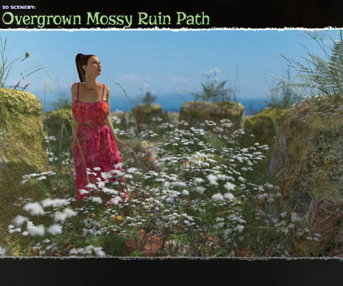 3D Scenery: Overgrown Mossy Ruin Path