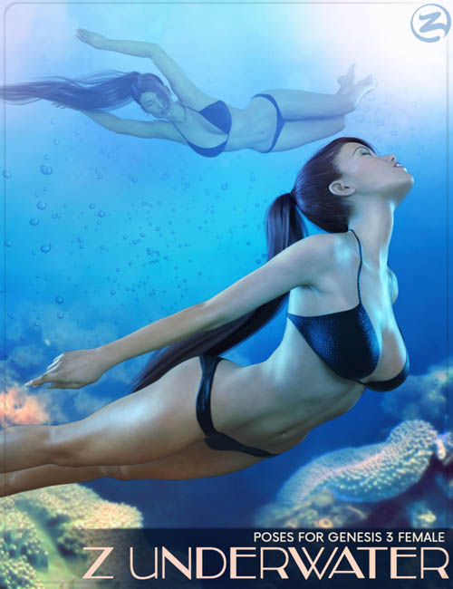 Z Underwater - Swimming Poses for Genesis 3 Female  [ update for gm3, gf8 & gm8 ]