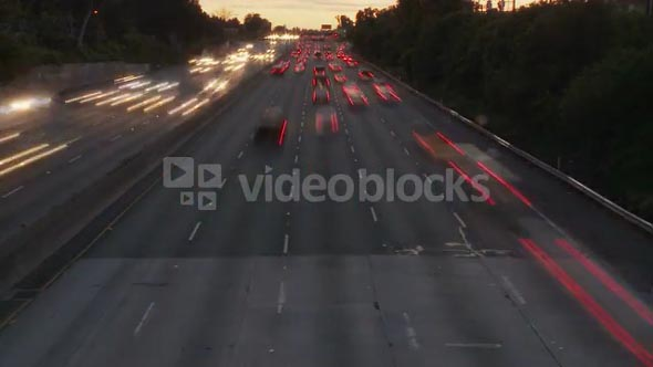 Cars Timelapse To Setting Sun