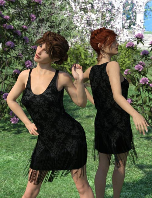 dForce Vintage Style Flapper Dress for Genesis 3 and 8 Female(s)