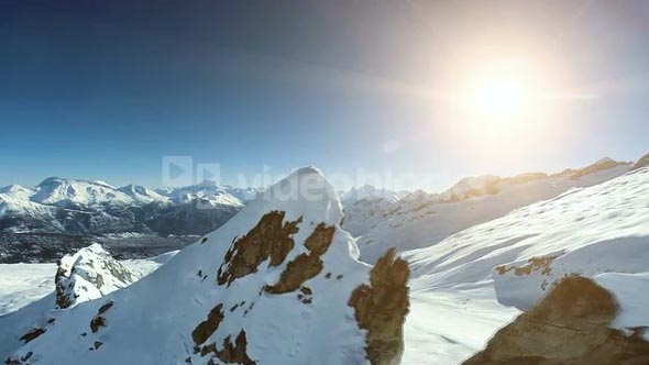 on top of mountain peak. aerial view. winter landscape