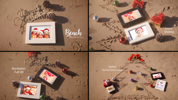 Christmas Photo Frame On Thee Beach
