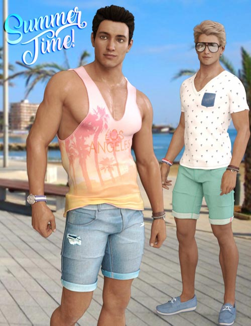 Summer Time Outfit for Genesis 3 and Genesis 8 Male(s)