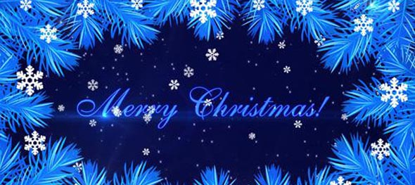 Merry Christmas with fir branches and snowflakes on the blue background