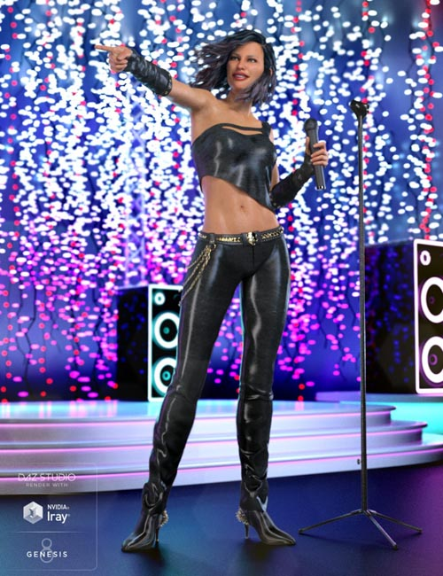 Glam Rocker Outfit for Genesis 8 Female(s)