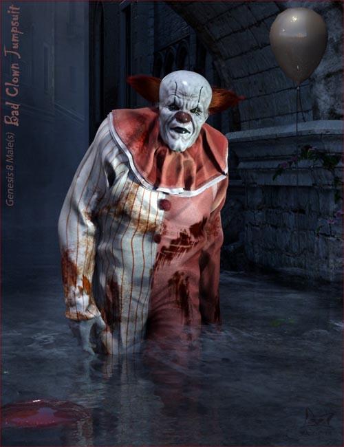 Bad Clown Jumpsuit for Genesis 8 Male(s)