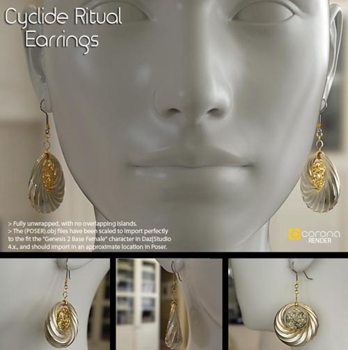 Cyclide Ritual Earrings (OBJ Version)