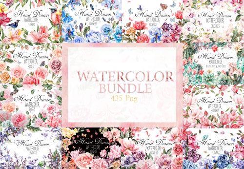Watercolor Flowers Bundle