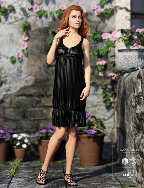dForce Sleeveless Ruffle Dress for Genesis 8 Female(s)
