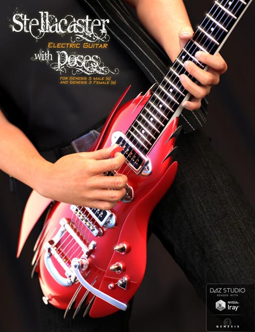 The Stellacaster Guitar and Poses for Genesis 3