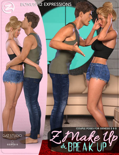 Z Make Up and Break Up - Couple Poses and Expressions for Genesis 3 & 8