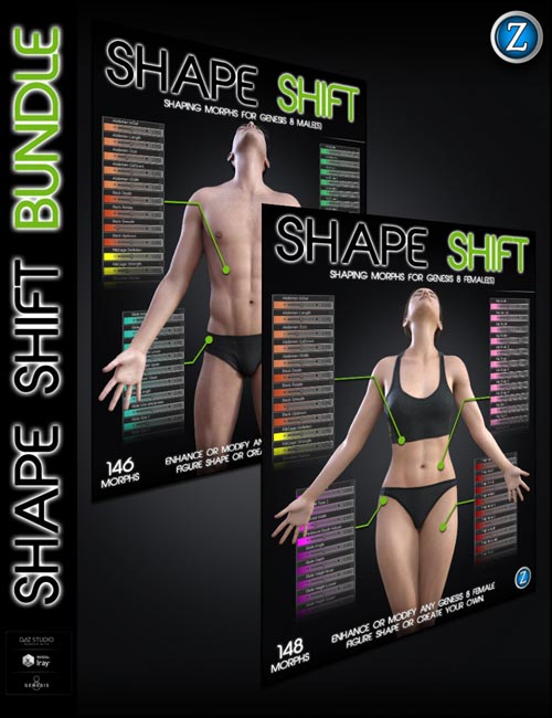 Shape Shift Bundle for Genesis 8 Female(s) and Male(s)