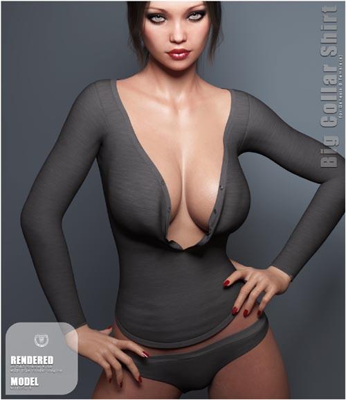 Big Collar Shirt and Panties for Genesis 8 Female