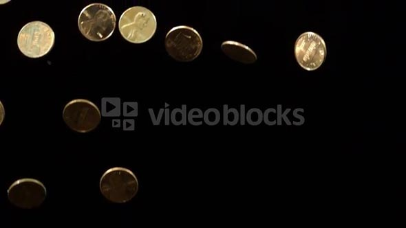 Slow Motion Falling Pennies 3