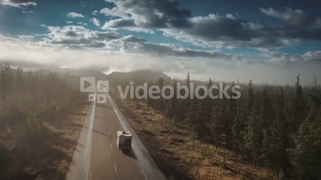 4K 60fps Aerial of RV Driving on Icefields Parkway in Jasper