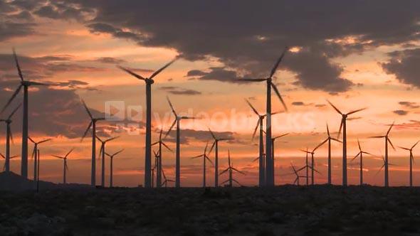 Cloudy Sunset Windmill Field
