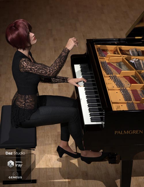 HD Grand Piano and Poses for Genesis 3 and 8