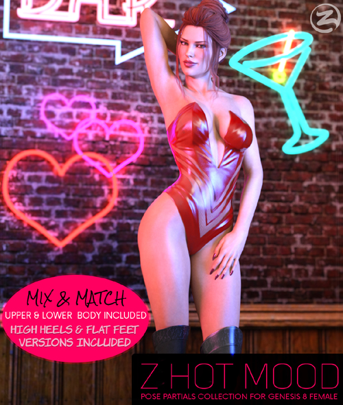 Z Hot Mood - Poses and Partials for the Genesis 8 Females