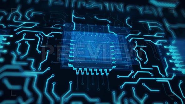 Futuristic Animated Blue Circuit Board