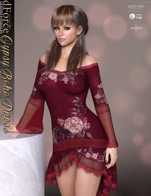 dForce Gyspy Boho Dress for Genesis 8 Females