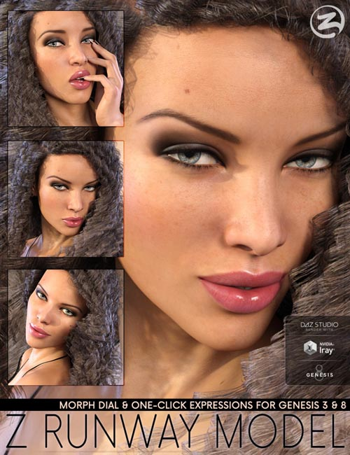 Z Runway Model - Morph Dial and One-Click Expressions for Genesis 3 & 8