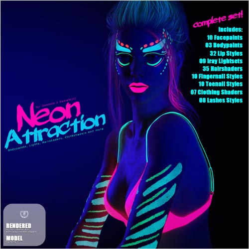 Neon Attraction: Bodypaints, Lights and Shaders for Genesis 3 Female