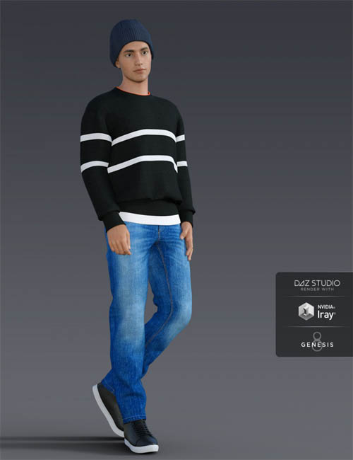 H&C Knit Sweater Outfit for Genesis 8 Male(s)