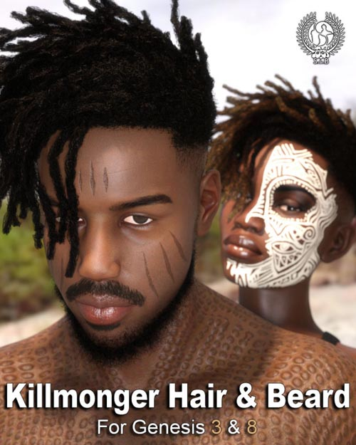 Killmonger Hair and Beard for Genesis 3 and 8