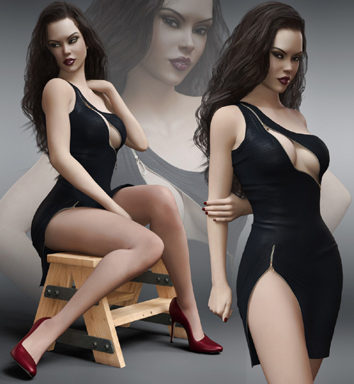 Stylish Zipper Dress for Genesis 8 Females
