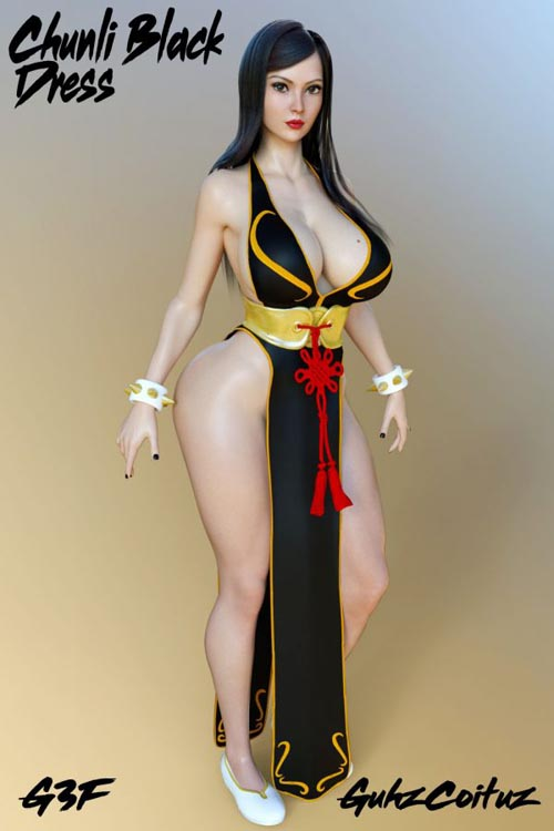 Chunli Black Dress for G3F