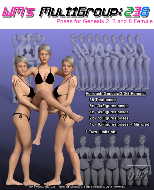 WM's MultiGroup: 238 - Poses for Genesis 2, 3 and 8 Female