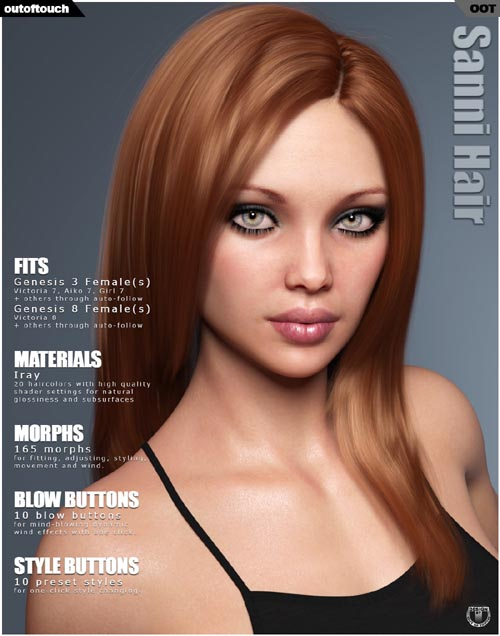 Sanni Hair for Genesis 3 and 8 Females