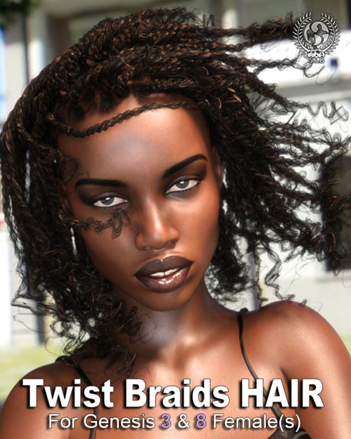Twist Braids Hair for Genesis 3 and 8 Female(s)
