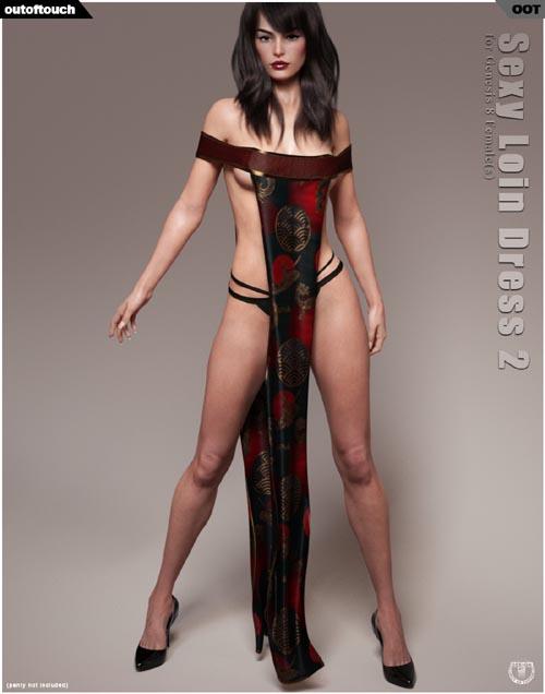 dForce Sexy Loin Dress 2 for Genesis 8 Females