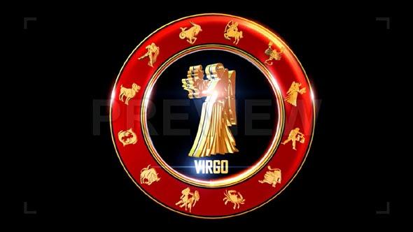 Rotating Virgo Indian Zodiac Symbol