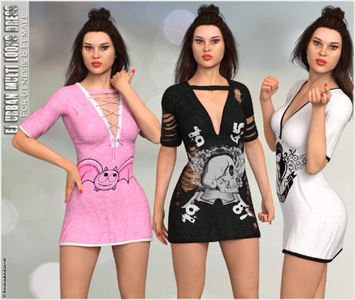 dForce EJ Urban Multi-Looks Dress For Genesis 8 Female